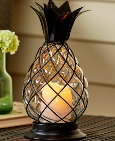 Led Candle Holder Pineapple Lantern Indoor Outdoor Glass Table Regarding Outdoor Pineapple Lanterns (#11 of 15)