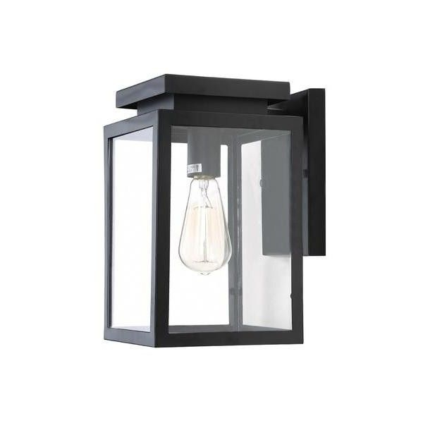 Lnc Industrial Vintage Outdoor Porch Wall Lantern,matte Black,clear With Regard To Outdoor Porch Lanterns (#7 of 15)