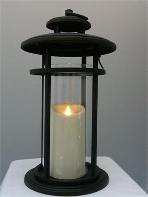 Luminara Flameless Candle Battery Powered Outdoor Black Cylinder Within Outdoor Luminara Lanterns (#9 of 15)