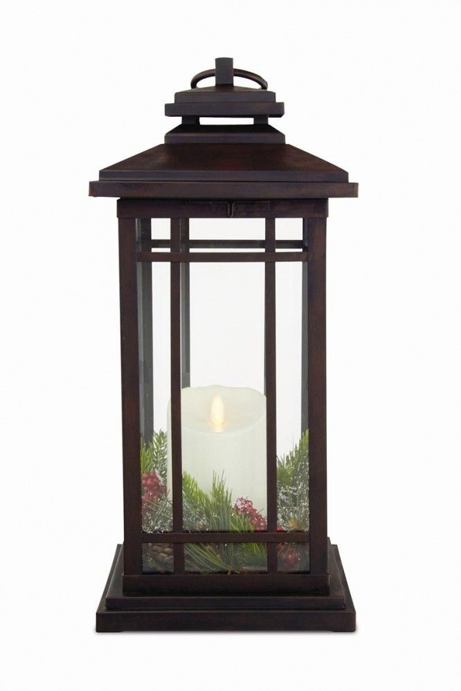 Luminara Flameless Candle Battery Powered Outdoor Bronze Lantern Pertaining To Outdoor Luminara Lanterns (#10 of 15)