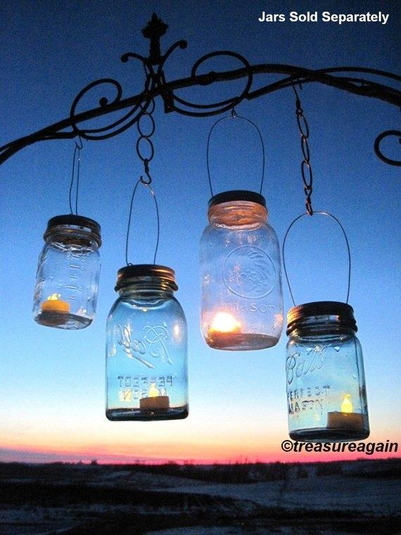 Mason Jar Lantern Lid Diy Hanging Candle Lanterns Outdoor | Etsy With Regard To Outdoor Jar Lanterns (View 10 of 15)