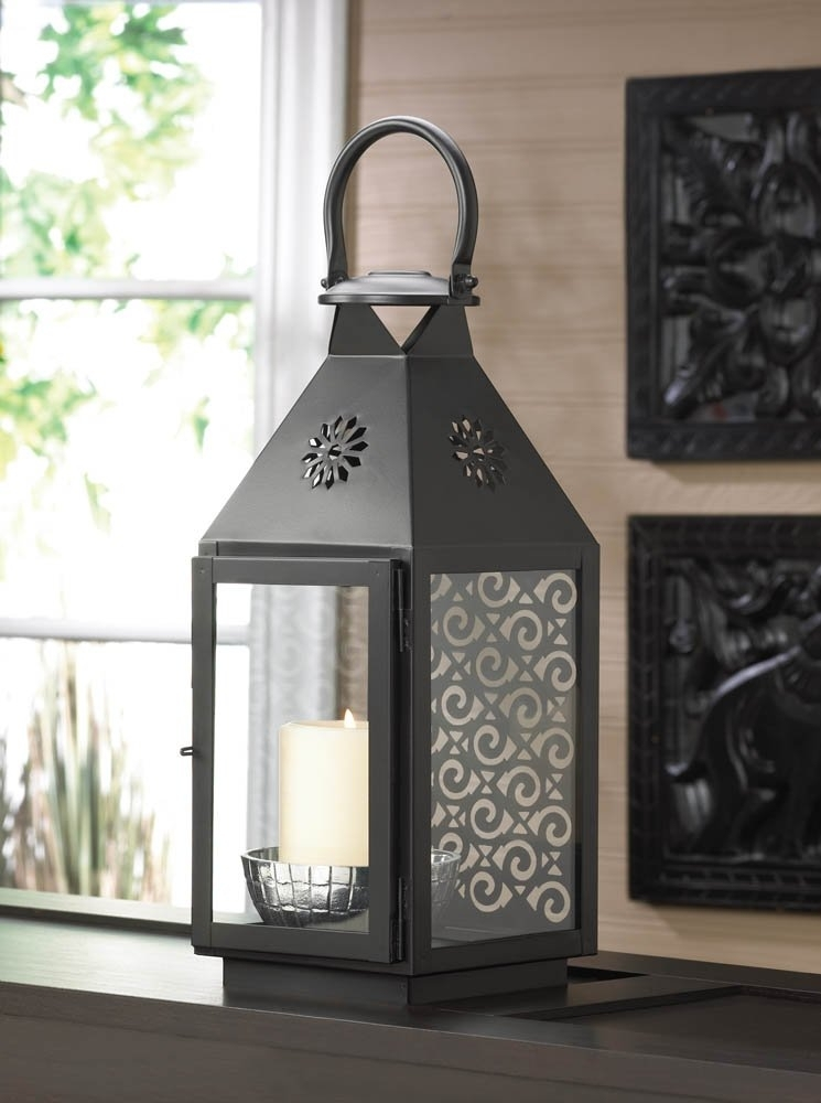 Metal Lantern Candle, Black Iron Decorative Lanterns For Candles Inside Outdoor Metal Lanterns For Candles (View 13 of 15)