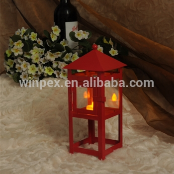 Mini Tabletop Decorative Red Painted Lighthouse Tealight Metal Pertaining To Red Outdoor Table Lanterns (View 4 of 15)