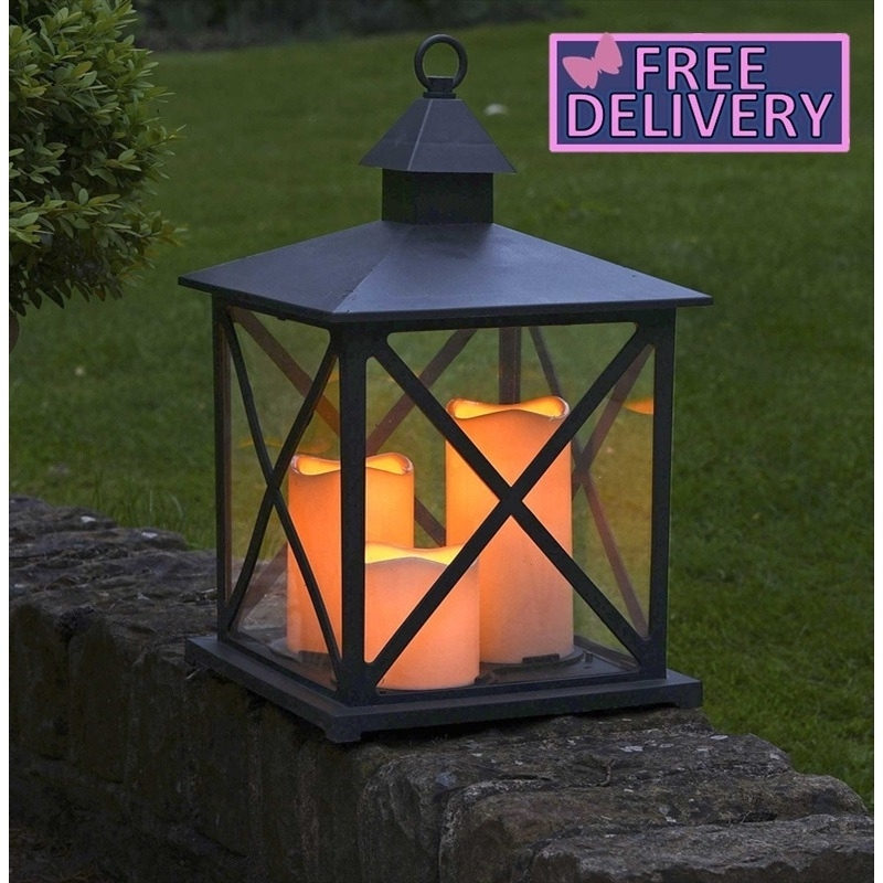Inspiration about Monterrey Battery Candle Lantern – The Garden Factory With Regard To Outdoor Lanterns With Battery Candles (#13 of 15)