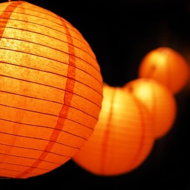 "Moonbright 12"" Orange Paper Lantern Outdoor String Light Set (10 For Outdoor Orange Lanterns (#10 of 15)"