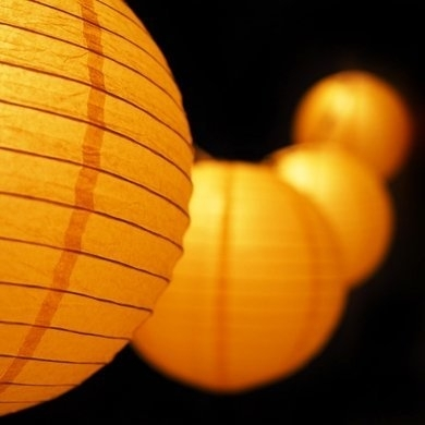 """Moonbright 12"""" Yellow Paper Lantern Outdoor String Light Set (10 With Regard To Yellow Outdoor Lanterns (#8 of 15)"""