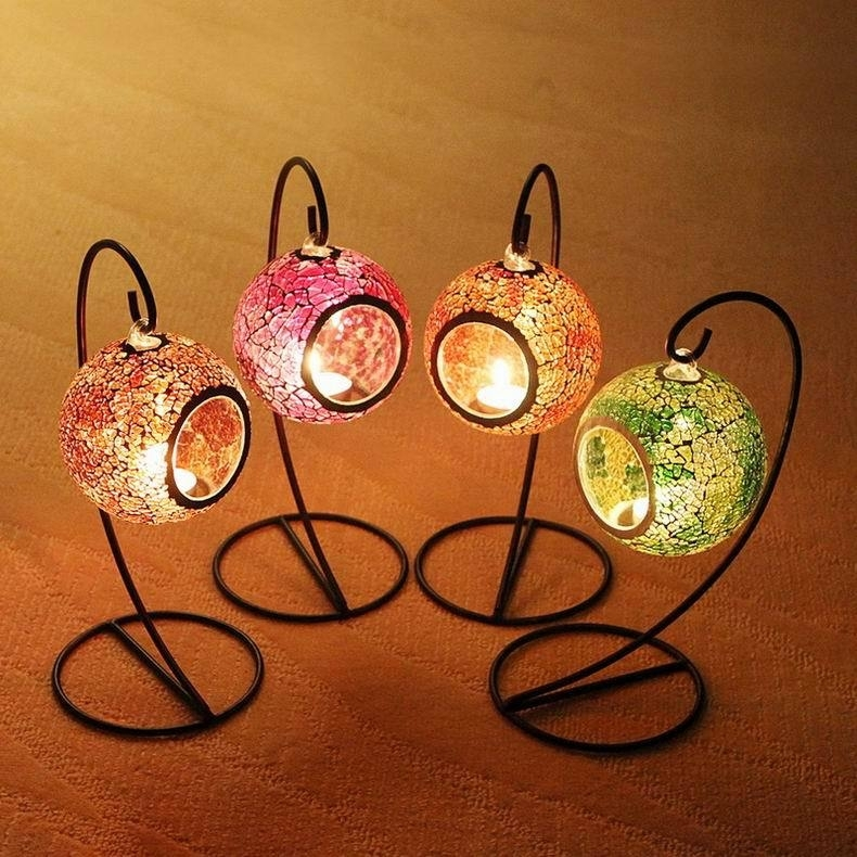 Inspiration about Mosaic Hanging Lantern 4 Colors Candle Lantern Tealight Candle Regarding Outdoor Tea Light Lanterns (#2 of 15)