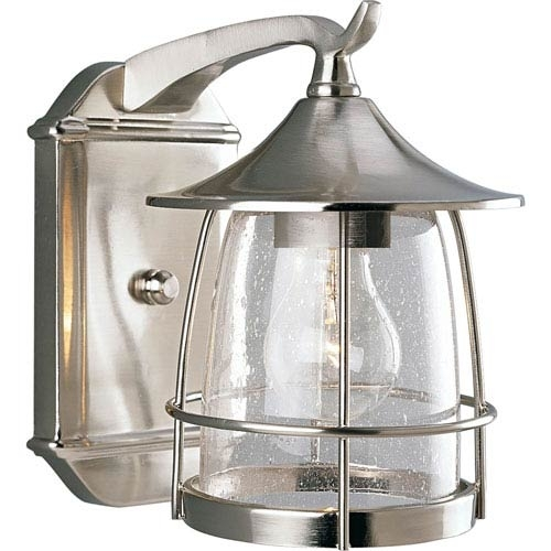 Nickel Brushed Outdoor Wall Lighting | Bellacor For Nickel Outdoor Lanterns (View 8 of 15)