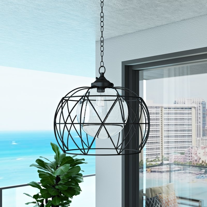 Orren Ellis Doane 1 Light Outdoor Pendant & Reviews | Wayfair For Outdoor Pendant Lanterns (#7 of 15)