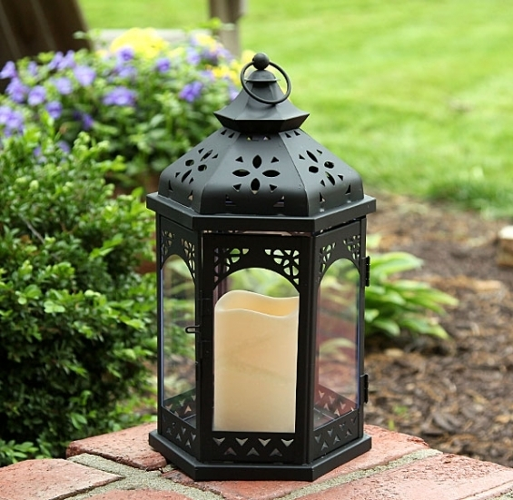 Outdoor Battery Operated Flameless Gazebo Candle Lantern 13 Inch – Timer Inside Outdoor Timer Lanterns (#11 of 15)