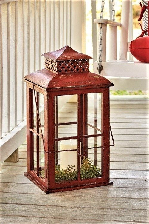 Outdoor Candle Lanterns – Rustic Large Candle Lanterns | Cool Home With Regard To Red Outdoor Table Lanterns (View 7 of 15)