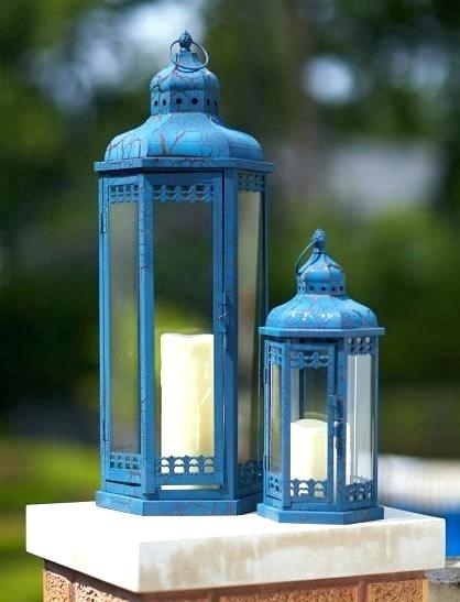Outdoor Candle Lanterns Tall Stainless Steel Garden Lanternhomes For Tall Outdoor Lanterns (View 8 of 15)
