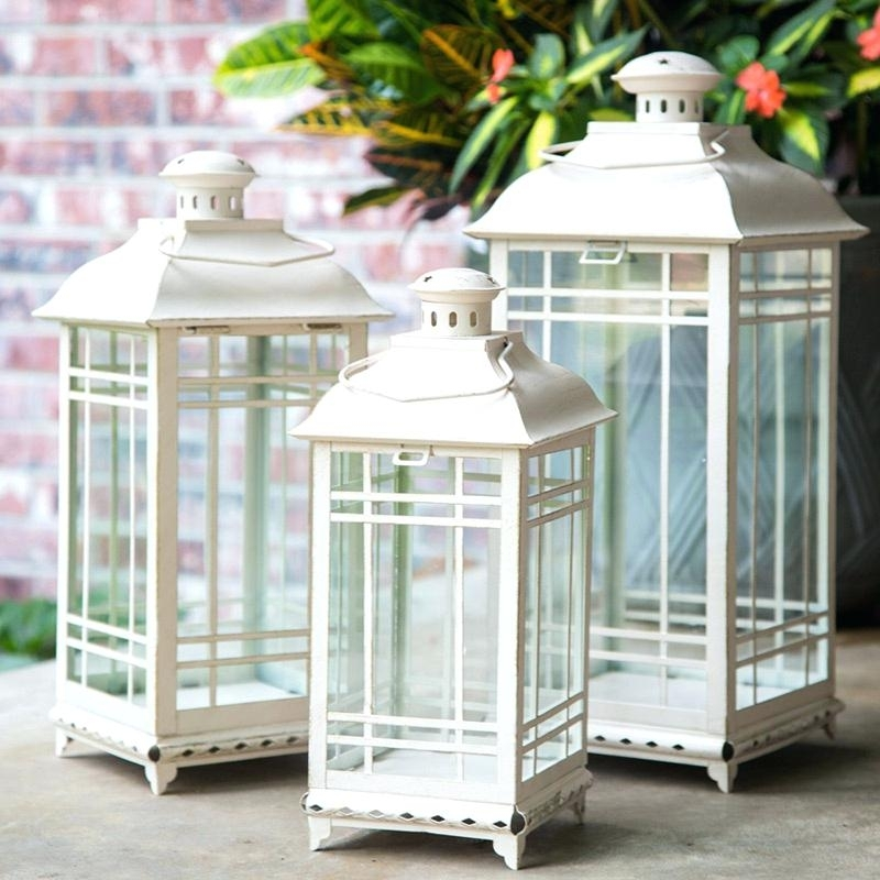 Outdoor Lantern Set Set Of 3 Antique White Candle Lanterns And Inch Throughout Set Of 3 Outdoor Lanterns (View 7 of 15)