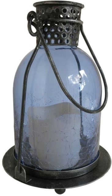 Outdoor Led Candle Lantern Monaco Blue Glass Metal Light Timer Inside Outdoor Weather Resistant Lanterns (#9 of 15)