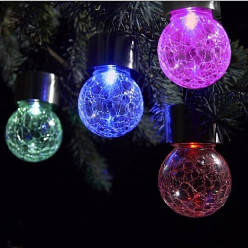 Outdoor Lighting Solar Bulb Crackle Glass Ball Led Bulbs Lights With Regard To Outdoor Ball Lanterns (View 9 of 15)