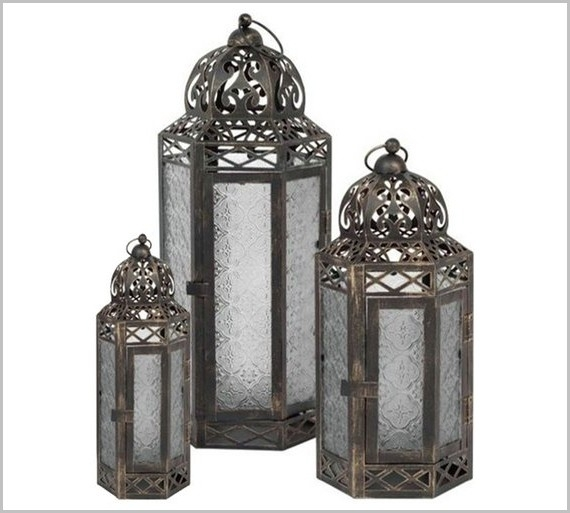 Outdoor Lights Argos » Buy Gold Brush Effect 3 Set Lantern At Argos With Outdoor Lanterns At Argos (View 13 of 15)