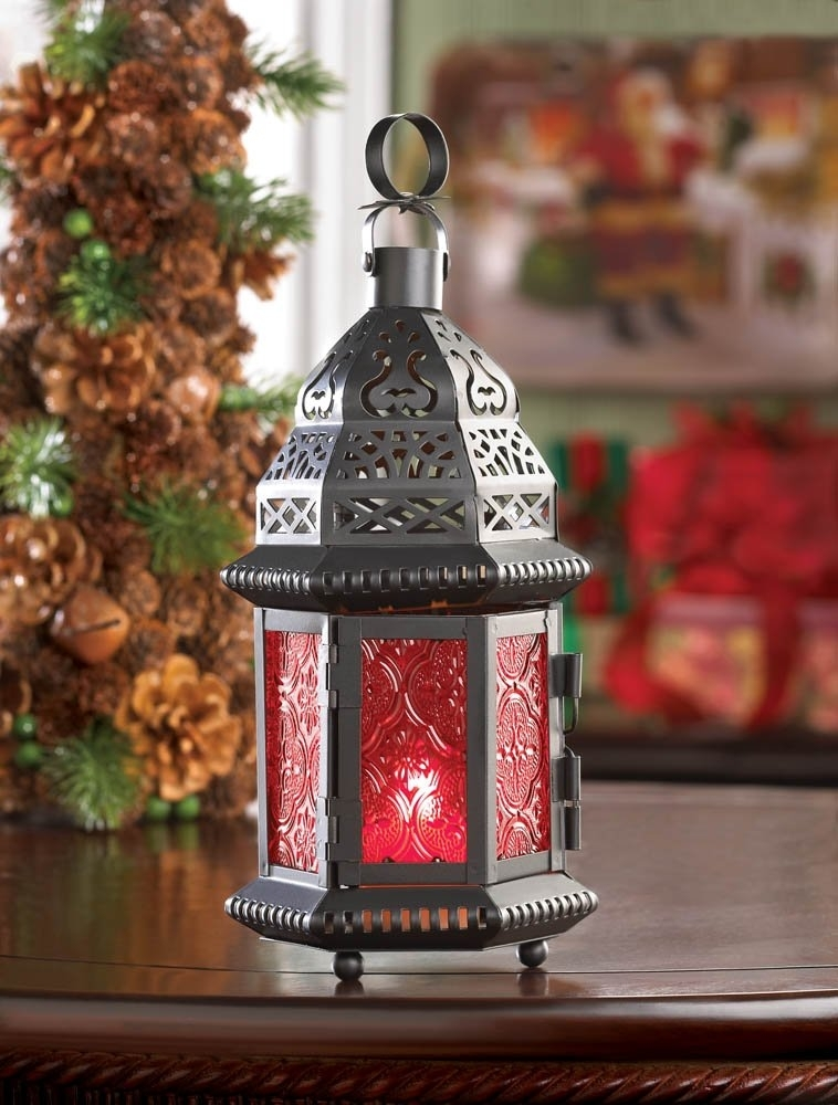 Outdoor Moroccan Lantern, Metal Moroccan Lanterns Decor For Table For Red Outdoor Table Lanterns (View 6 of 15)