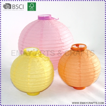 Outdoor Round Shape Battery Operated Paper Lanterns With Led Light With Regard To Outdoor Round Lanterns (View 8 of 15)