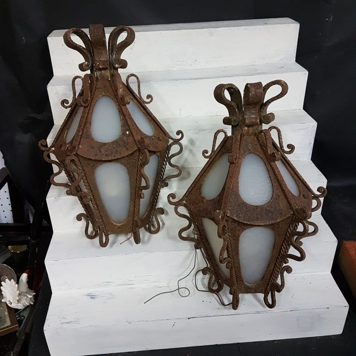 Pair Of Outdoor Lanterns, Made In Cast Iron With Antique Glass Throughout Outdoor Cast Iron Lanterns (View 14 of 15)