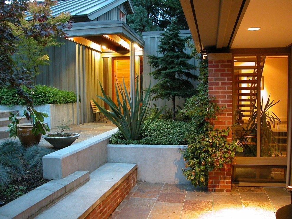 Inspiration about Patio Entrance Landscape Contemporary With Planters Modern Outdoor In Outdoor Entrance Lanterns (#14 of 15)