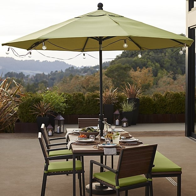 Patio Umbrella Globe Led String Lights + Reviews | Crate And Barrel Pertaining To Outdoor Umbrella Lanterns (View 6 of 15)