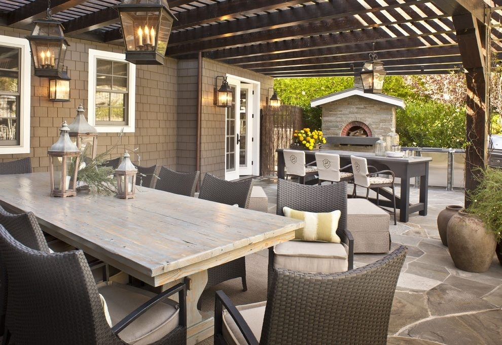 Pergola Lighting Patio Traditional With Outdoor Cushions Traditional For Outdoor Dining Lanterns (View 11 of 15)