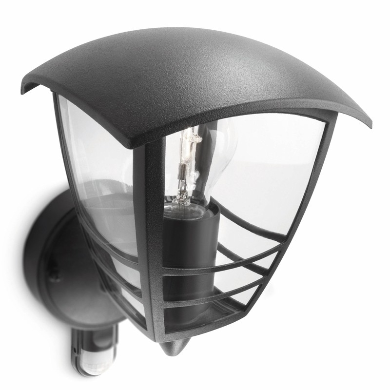 Philips Creek Outdoor Lantern Wall Light With Pir Sensor – Black Within Outdoor Pir Lanterns (#11 of 15)