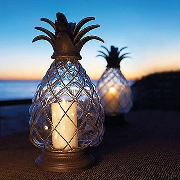 Pineapple Hurricane Lantern Tropical Candles And Candle Holders In Outdoor Pineapple Lanterns (#12 of 15)