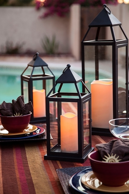 Pool Side Outdoor Lanterns With Flameless Candles – Traditional Inside Outdoor Lanterns With Flameless Candles (View 11 of 15)