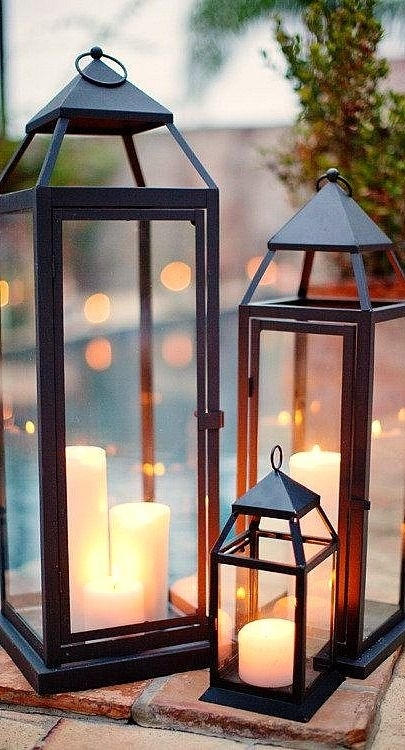 Inspiration about Pool Side Outdoor Lanterns With Flameless Candles Traditional Intended For Outdoor Lanterns With Flameless Candles (#12 of 15)