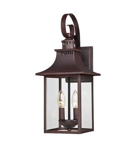 Inspiration about Quoizel Ccr8408Cu Chancellor 2 Light 19 Inch Copper Bronze Outdoor With Regard To Outdoor Wall Lanterns (#3 of 15)