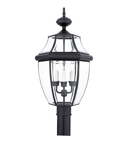 Quoizel Ny9043K Newbury 3 Light 23 Inch Mystic Black Outdoor Post Inside Quoizel Outdoor Lanterns (View 12 of 15)