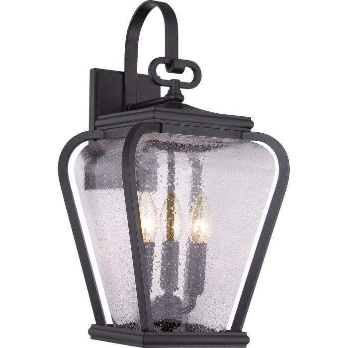 "Quoizel Province 3 Light 19"" Outdoor Lantern In Mystic Black Within Quoizel Outdoor Lanterns (View 7 of 15)"