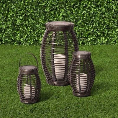 Inspiration about Rattan Solar Lantern Pagoda Dark Brown Large – Threshold, Durable Regarding Outdoor Rattan Lanterns (#14 of 15)