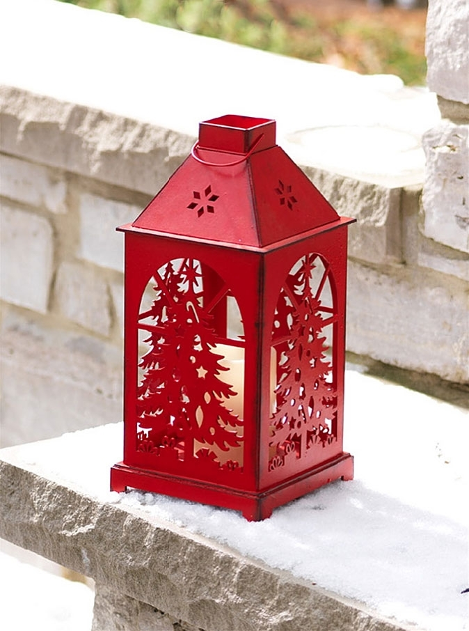 Red Flameless Christmas Candle Lantern With Cut Out Tree – Dual Timer Inside Outdoor Lanterns With Timers (View 15 of 15)