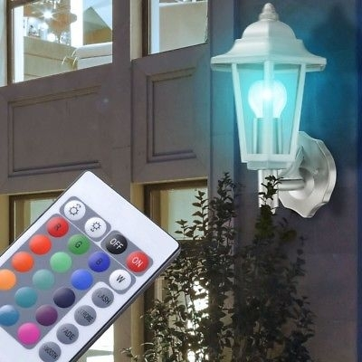 Rgb Led Outdoor Home Wall Lamp Remote Control Stainless Steel Garden Intended For Outdoor Lanterns With Remote Control (View 6 of 15)