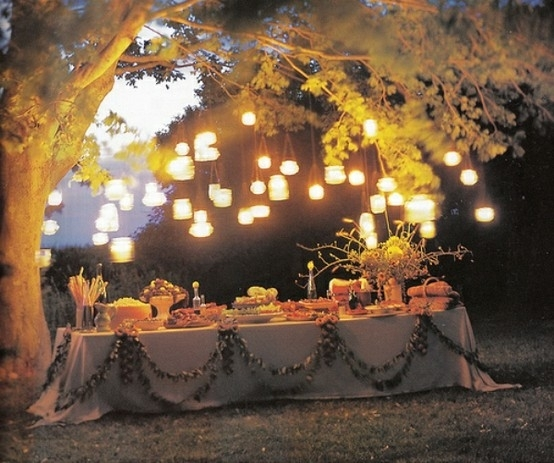 Romantic Outdoor Dining Room Design With Lanterns And Big Trees In Outdoor Dining Lanterns (View 8 of 15)