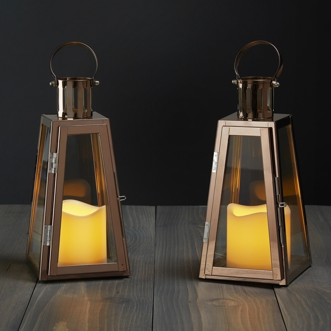 Inspiration about Rose Gold Glass Paneled Flameless Lantern With Timer, Set Of 2 | Ebay Throughout Outdoor Lanterns With Flameless Candles (#6 of 15)