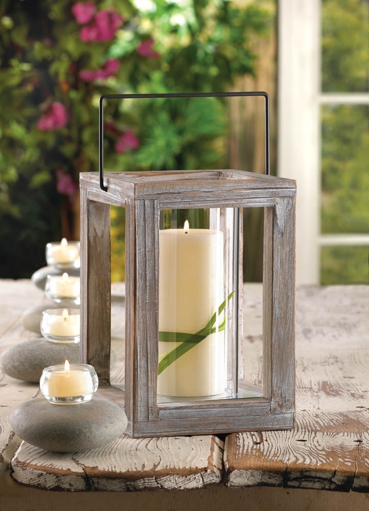 Inspiration about Rustic Weathered Wood Garden Pillar Candle Lantern Use Indoors Or In Outdoor Candle Lanterns (#11 of 15)