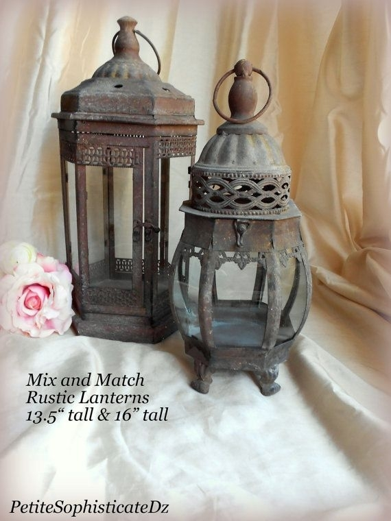 Sale Mix & Match Rustic Lanterns,indoor/outdoor Rustic Centerpiece Regarding Outdoor Rustic Lanterns (#15 of 15)