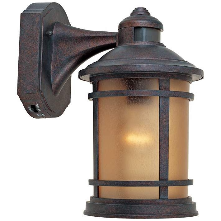 "Sedona Motion Sensor 7"" Wide Patina Outdoor Wall Lantern – #w8098 For Outdoor Motion Lanterns (#13 of 15)"