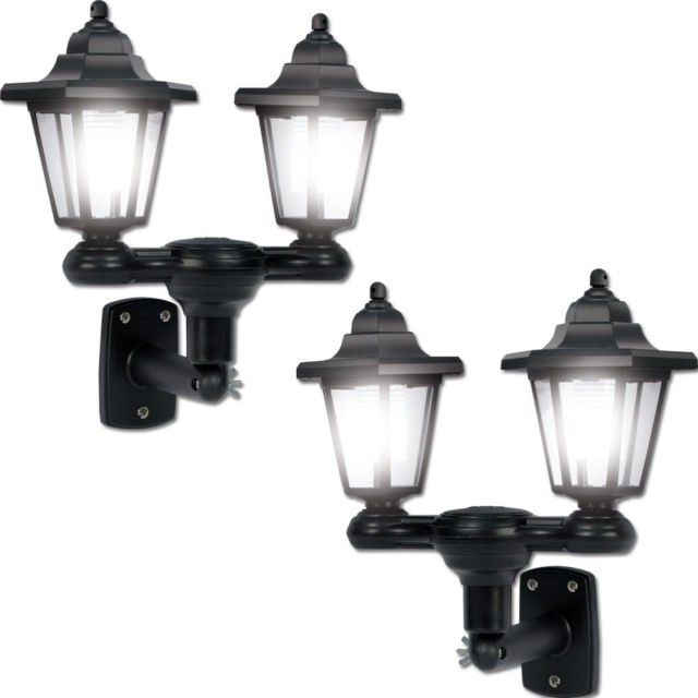 Set/2 3 In 1 Dual Lanterns Solar Outdoor Lights With Lamp Pole And Regarding Set Of 3 Outdoor Lanterns (View 6 of 15)