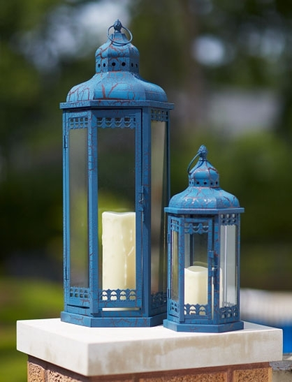 Set Of 2 Blue Candle Lanterns – Iron And Glass 14 And 25 Inch Inside Outdoor Lanterns With Candles (View 8 of 15)