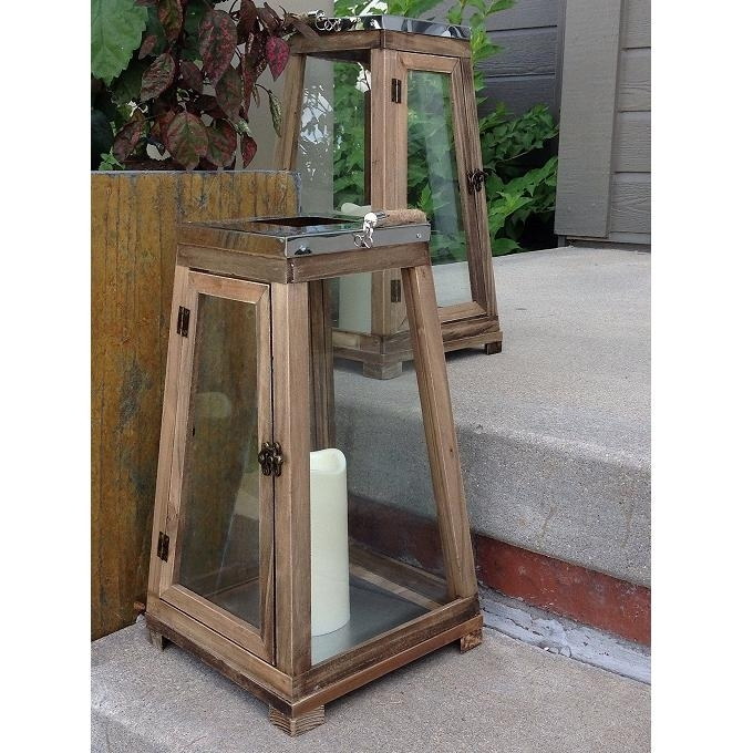 Set Of 2 Wood Indoor Outdoor Lanterns With Regard To Indoor Outdoor Lanterns (#14 of 15)