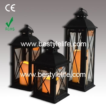 Set Of 3 Black Pagoda Style Outdoor Decorative Candle Lanterns – Buy With Outdoor Decorative Lanterns (#15 of 15)