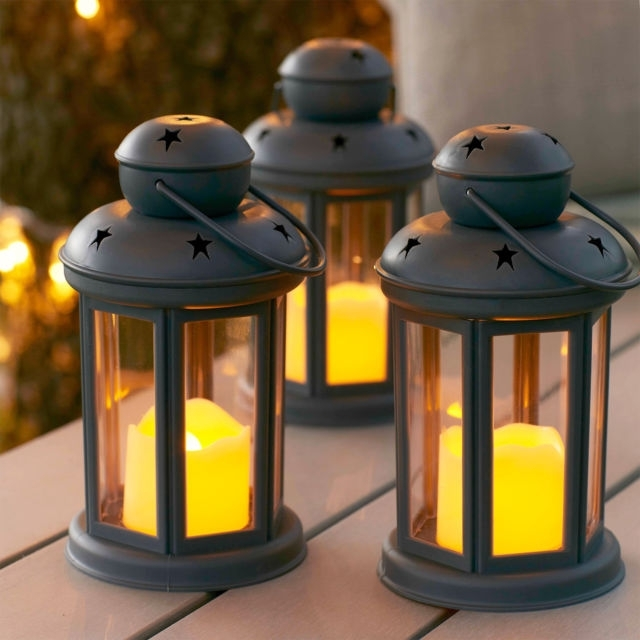 Set Of 3 Grey Battery Operated Led Flameless Candle Lanterns For With Set Of 3 Outdoor Lanterns (View 10 of 15)