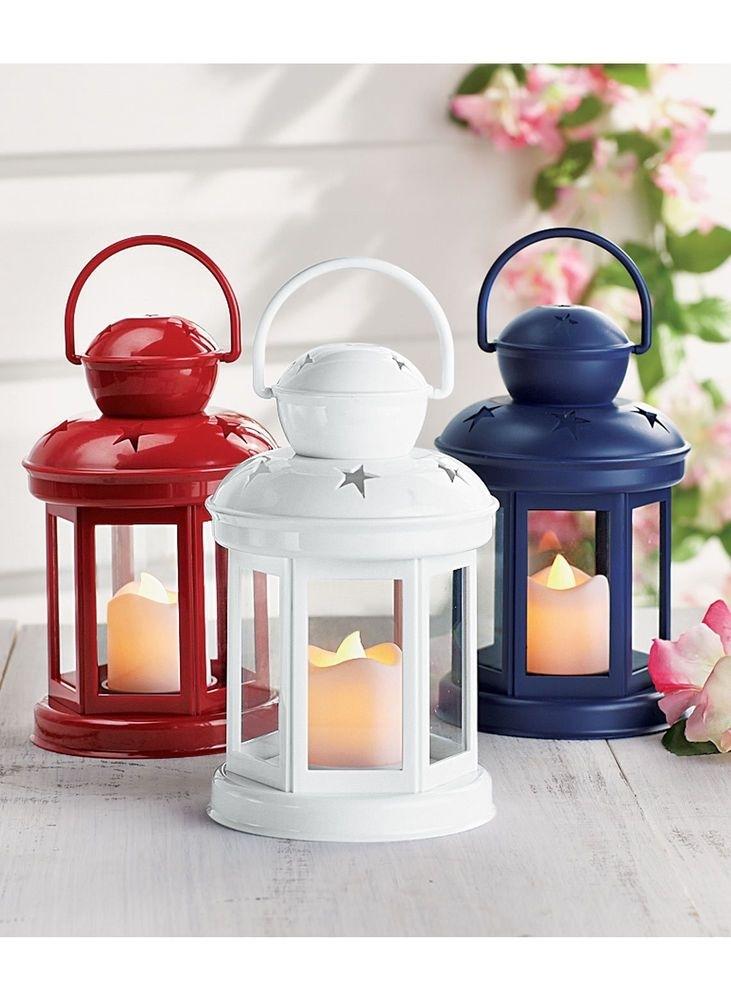 Set Of 3 Led Lanterns – Red White & Blue Lanterns – Led Outdoor Throughout Red Outdoor Table Lanterns (View 2 of 15)