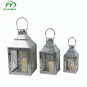 Set Of 3 Outdoor Garden And Hurricane Moroccan Zinc Candle Lantern Pertaining To Set Of 3 Outdoor Lanterns (View 8 of 15)