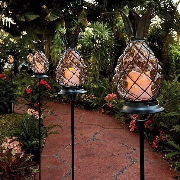 Set Of 3 Outdoor Tropical Tiki Pineapple Staked Pathway Light Candle With Regard To Outdoor Tiki Lanterns (View 13 of 15)
