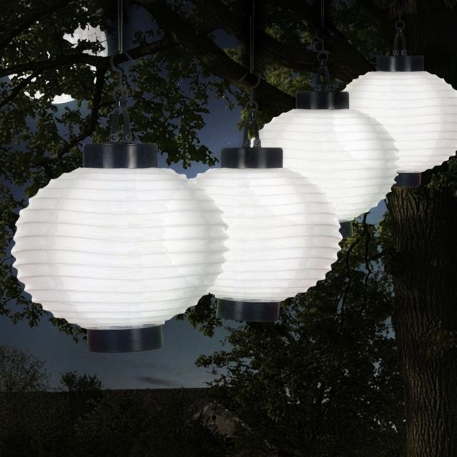 Set Of 4 White Outdoor Solar Chinese Led Lanterns For Patio Backyard With Outdoor Chinese Lanterns For Patio (View 8 of 15)